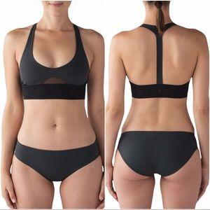 Lululemon Rising Tides Swim Top Grey & Black Sz 8